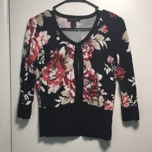 WHITE HOUSE BLACK MARKET FLORAL CARDIGAN